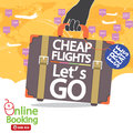 Cheap flights banner vector illustration Stock Photos