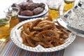 Chebakia honey cookies and dates Royalty Free Stock Photo