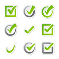 Check box icons of vote mark sign choice yes symbol and correct design right agreement voting form button question