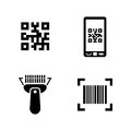 Check code. Simple Related Vector Icons