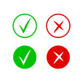 Check and cross mark icons. Vector symbol of yes and no. Isolated sign approved, choice checkmark