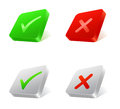 Check and cross marks set of d square web buttons with Royalty Free Stock Photo