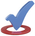 Check mark choice vote in circle big blue a red to or ok a Stock Photos