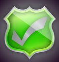 Check mark green shield illustration design Royalty Free Stock Photo