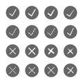 Check mark right and wrong icons set