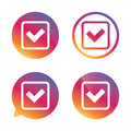 Check mark sign icon. Yes square symbol. Royalty Free Stock Photo