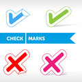 Check marks mark set icons stickers Stock Photos