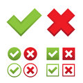 Check marks web set with green ticks and red crosses in round and square shapes isolated on white background Royalty Free Stock Photography