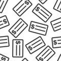 Check money seamless pattern background icon. Flat vector illust