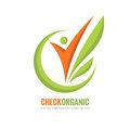 Check Organic - vector logo template concept illustration. Human character and green leaves. Nature product creative sign.