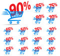 Check Out Cart SALE Icon Symbol with Percent