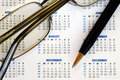 Check out the dates in a business calendar Royalty Free Stock Photo