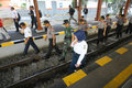 Check railroads the police and army checks in the city of solo central java indonesia Stock Images