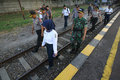 Check railroads the police and army checks in the city of solo central java indonesia Stock Photography
