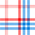 Check white textile with red and blue stripes seamless pattern Royalty Free Stock Photo