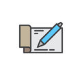 Checkbook with pen filled outline icon, vector sign