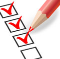 Checkbox with a red pencil this image was made by adobe illustration Stock Photography