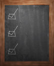 Checkboxes on Blackboard Stock Photo