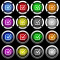 Checked box white icons in round glossy buttons on black background Royalty Free Stock Photo