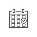 Checked calendar line icon, event outline logo, linear pi