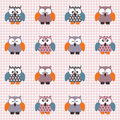 Checked pattern with cute owls Royalty Free Stock Photo
