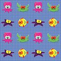 Checked pattern with doodle sea creatures Stock Photos