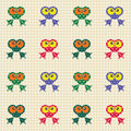 Checked pattern with funny frogs Royalty Free Stock Photos