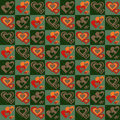 Checker pattern with hearts Royalty Free Stock Photography