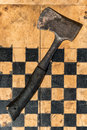 Checkerboard axe on at the union camp at the th anniversary of the gettysburg civil war battles at table rock road in gettysburg Stock Photo