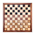 Checkerboard with checkers spaced wooden isolated on white Stock Photography