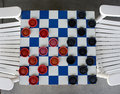 Checkerboard game from a birds eye view Royalty Free Stock Images
