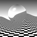 Checkerboard sphere a reflects a wavy pattern in an abstract background illustration Royalty Free Stock Images