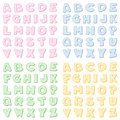 Checkered Alphabet, Four Pastel Colors Stock Photos