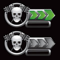 Checkered arrows with racing flags and skull Stock Photography