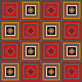 Checkered Background with Coloured Squares Royalty Free Stock Photo