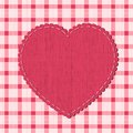 Checkered background with heart label textile Royalty Free Stock Photos