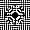checkered background, optical illusion, drop on the tile, balloon in the background color, sphere Royalty Free Stock Photo