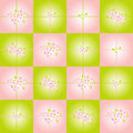 Checkered background with pink flowers Royalty Free Stock Photos