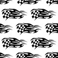 Checkered black and white flag seamless pattern of at the motor races with flowing motion lines to show the speed of the passing Stock Photography