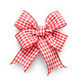 Checkered bow red and white ribbon isolated on white background clipping path included Royalty Free Stock Images