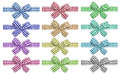 Checkered bows set of colors isolated on the white Royalty Free Stock Photo
