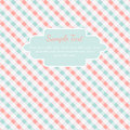 Checkered coral and turquoise card template with place for text Stock Photography