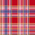 Checkered fabric seamless pattern tartan traditional vector red and blue Royalty Free Stock Photo