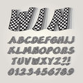Checkered Flag Alphabet and Numbers Royalty Free Stock Photo