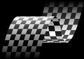 Checkered flag wave on black design race championship background vector. Royalty Free Stock Photo
