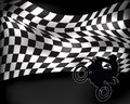 Checkered flag with wheelie motorbike