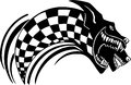 Checkered flag and wolf vector illustration vinyl ready design Royalty Free Stock Photo