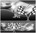 Checkered flags on auto background Royalty Free Stock Photo