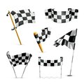 Checkered flags set computer illustration on white background Stock Images