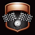 Checkered flags and speedometer on bronze display Stock Photo